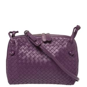 Bottega Veneta Purple Intrecciato Leather Nodini Crossbody Bag
