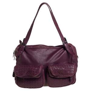 Bottega Veneta Dark Magenta Intrecciato Leather Front Pockets Shoulder bag
