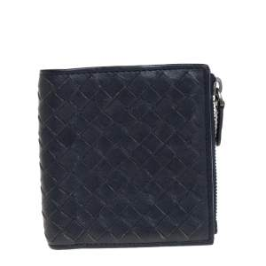 Bottega Veneta Navy Blue Intrecciato Leather Wallet