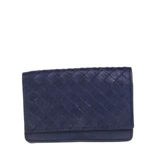 Bottega Veneta Purple Intrecciato Leather Card Holder