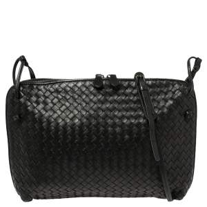 Bottega Veneta Black Intrecciato Leather Large Nodini Crossbody Bag
