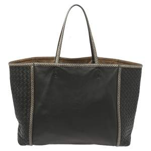 Bottega Veneta Black Intrecciato Leather and Ayers Trim Shopper Tote