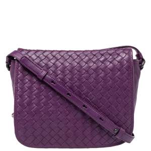 Bottega Veneta Purple Intrecciato Leather Flap Crossbody Bag
