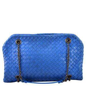 Bottega Veneta Blue Intrecciato Leather Duo Bag