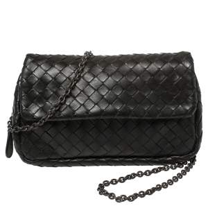 Bottega Veneta Black Intrecciato Leather Flap Chain Crossbody Bag