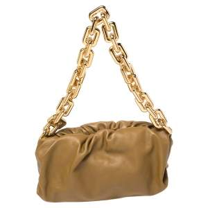 Bottega Veneta Olive Green Leather Chain Pouch Shoulder Bag