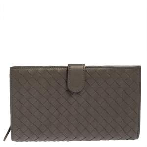 Bottega Veneta Grey Intrecciato Leather Long Wallet