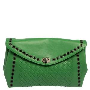 Bottega Veneta Green Intrecciato Leather Grommet Flap Clutch