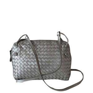 Bottega Veneta Metallic Grey Intrecciato Leather Nodini Crossbody Bag