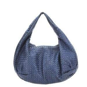 Bottega Veneta Blue Leather Intrecciato Hobo Bag