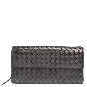 Bottega Veneta Metallic Grey Intrecciato Leather Flap Continental Wallet