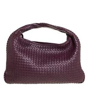 Bottega Veneta Dark Burgundy Intrecciato Leather Large Veneta Hobo