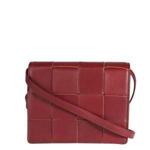 Bottega Veneta Bordeaux Leather Mini Cassette Crossbody Bag