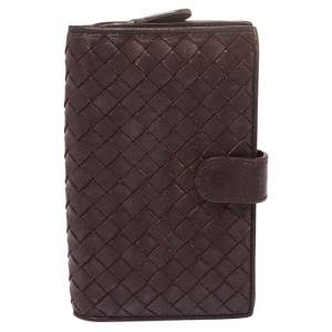 Bottega Veneta Plum Intrecciato Leather Continental Wallet