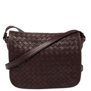 Bottega Veneta Burgundy Intrecciato Leather Flap Crossbody Bag