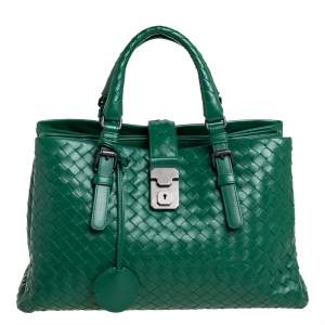 Bottega Veneta Green Intrecciato Leather Small Roma Tote