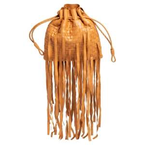 Bottega Veneta Brown Leather Fringe Drawstring Bucket Bag