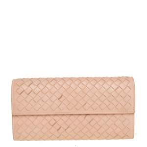 Bottega Veneta Peach Intrecciato Leather Continental Wallet