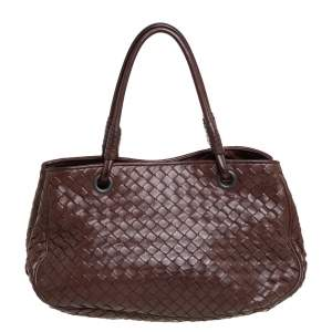 Bottega Veneta Brown Leather Intrecciato Tote