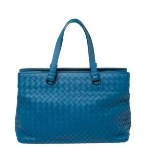 Bottega Veneta Blue Intrecciato Leather Medium Satchel