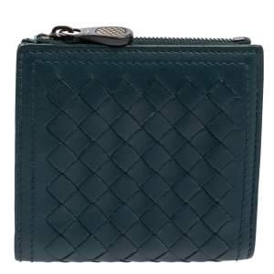 Bottega Veneta Teal Green Intrecciato Leather Compact Wallet