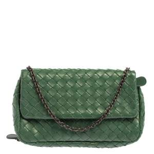 Bottega Veneta Green Intrecciato Leather Flap Chain Crossbody Bag