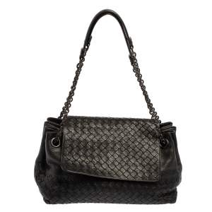 Bottega Veneta Black Intrecciato Leather Flap Shoulder Bag