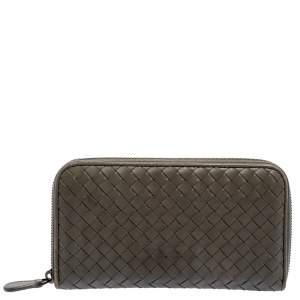 Bottega Veneta Olive Green Intrecciato Leather Zip Around Wallet