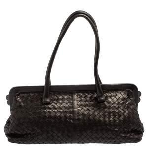 Bottega Veneta Black Intrecciato Leather Frame Satchel