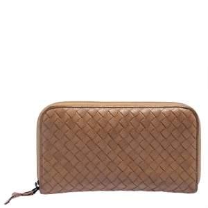 Bottega Veneta Tan Intrecciato Leather Zip Around Wallet