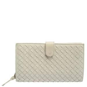 Bottega Veneta Cream Intrecciato Leather Continental Wallet