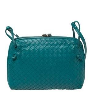 Bottega Veneta Aqua Green Intrecciato Leather Nodini Crossbody Bag