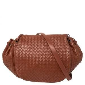 Bottega Veneta Cinnamon Brown Intrecciato Leather Drawstring Flap Crossbody Bag
