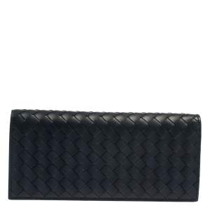 Bottega Veneta Blue Intrecciato Leather Continental Wallet