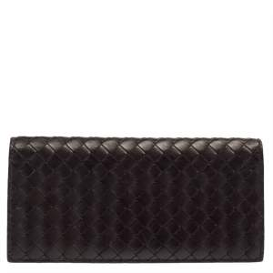 Bottega Veneta Brown Intrecciato Leather Continental Flap Wallet