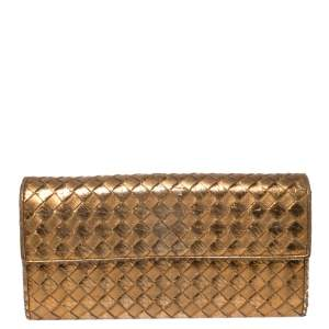Bottega Veneta Metallic Gold Intrecciato Leather Flap Continental Wallet