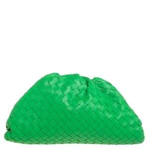 Bottega Veneta Green Intrecciato Leather The Pouch Clutch