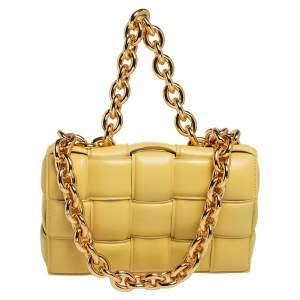 Bottega Veneta Yellow Leather Chain Cassette Shoulder Bag