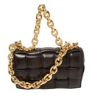 حقيبة كتف بوتيغا فينيتا تشاين كاسيت جلد بني بسلسة