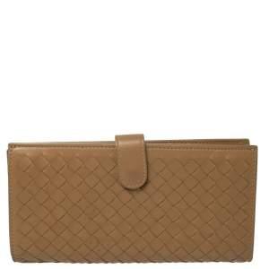 Bottega Veneta Beige Intrecciato Leather Flap Continental Wallet