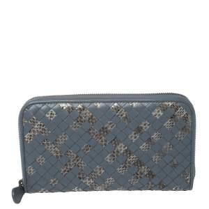 Bottega Veneta Blue Intrecciato Leather and Snakeskin Zip Around Wallet