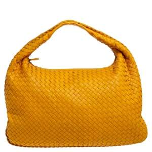 Bottega Veneta Mustard Intrecciato Leather Large Veneta Hobo