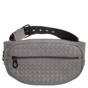 Bottega Veneta Grey Intrecciato Leather Zip Belt Bag