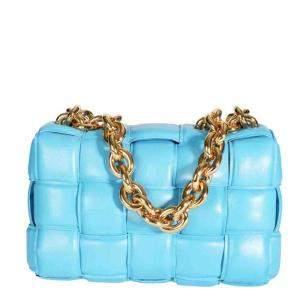 Bottega Veneta Blue Intrecciato Leather Padded Maxi Cassette Bag