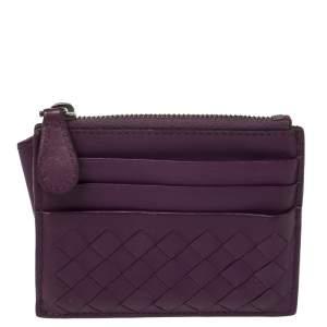 Bottega Veneta  Purple Intrecciato Leather Zip Card Holder