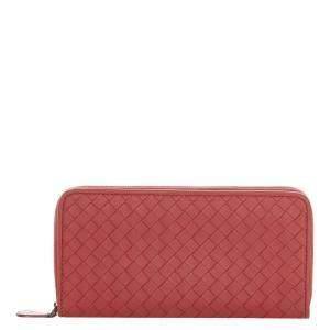 Bottega Veneta Red Intrecciato Leather Zip Around Wallet