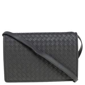Bottega Veneta Grey Intrecciato Leather Full Flap Crossbody Bag