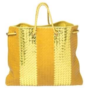 Bottega Veneta Yellow/Gold Liquid Stripe Intrecciato Leather Oversized Tote