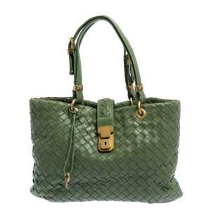 Bottega Veneta Green Intrecciato Leather Small Capri Tote