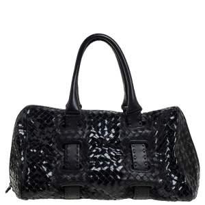 Bottega Veneta Black Patent Intrecciato Leather Boston Bag